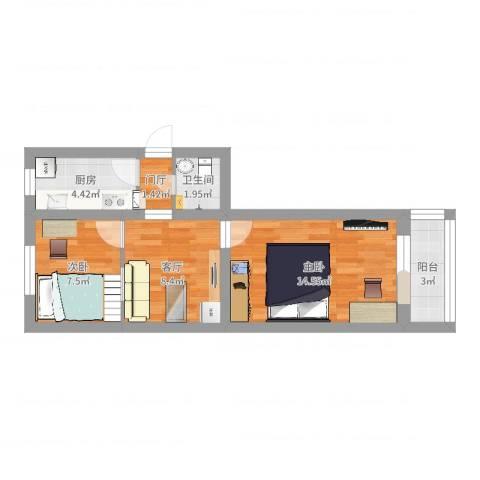 永泰庄6号院2室1厅1卫1厨55.00㎡户型图