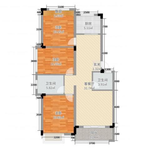 文象府3室2厅2卫1厨110.00㎡户型图