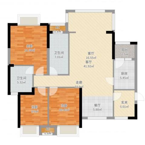 军安卫士花园3室1厅2卫1厨127.00㎡户型图
