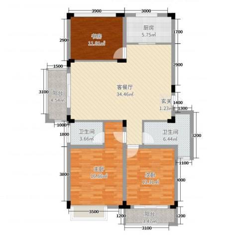 文象府3室2厅2卫1厨120.00㎡户型图