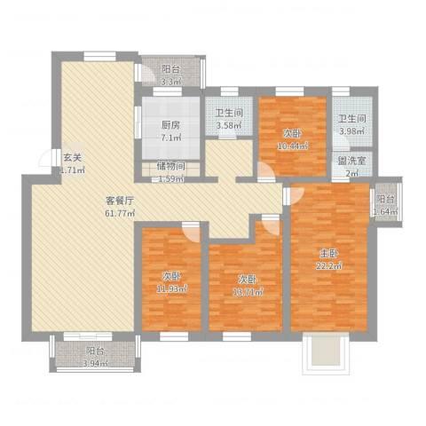 丽华小区4室2厅2卫1厨184.00㎡户型图