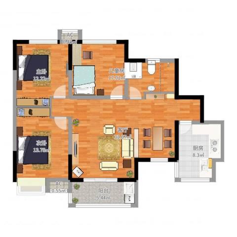 军安卫士花园3室1厅1卫2厨114.00㎡户型图