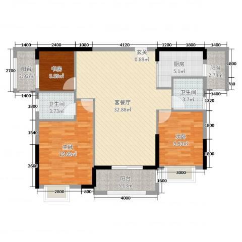 盛合公园壹号3室2厅2卫1厨118.00㎡户型图