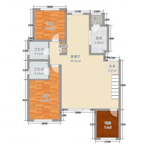 金色雅居3室2厅2卫1厨132.00㎡户型图
