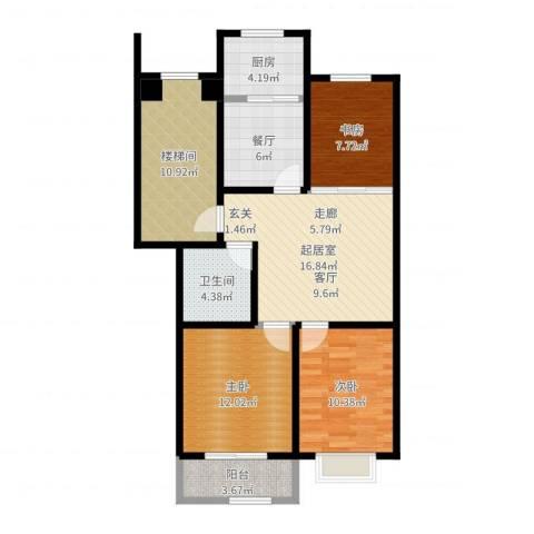 紫祥花园3室1厅1卫1厨95.00㎡户型图