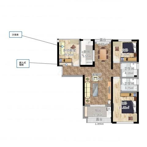 中科苑2室2厅2卫1厨112.00㎡户型图