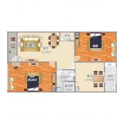 紫薇花园2室4厅1卫1厨144.00㎡户型图