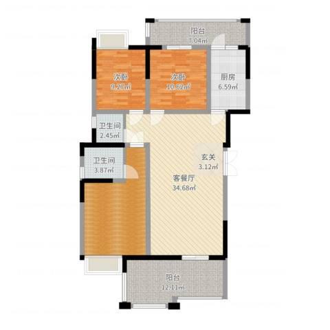 香槟庄园2室2厅2卫1厨129.00㎡户型图