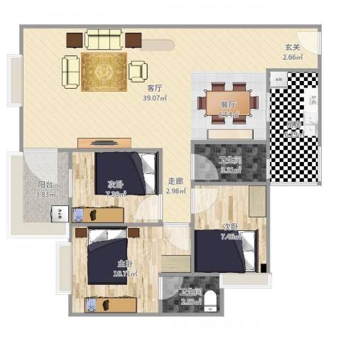 百花园3室1厅2卫1厨101.00㎡户型图