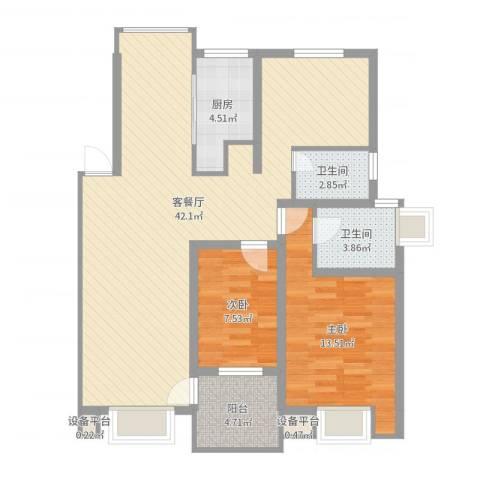 万兆家园莱茵风尚2室2厅2卫1厨100.00㎡户型图