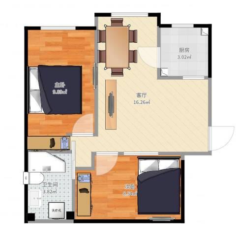 安德馨居2室1厅1卫1厨52.00㎡户型图