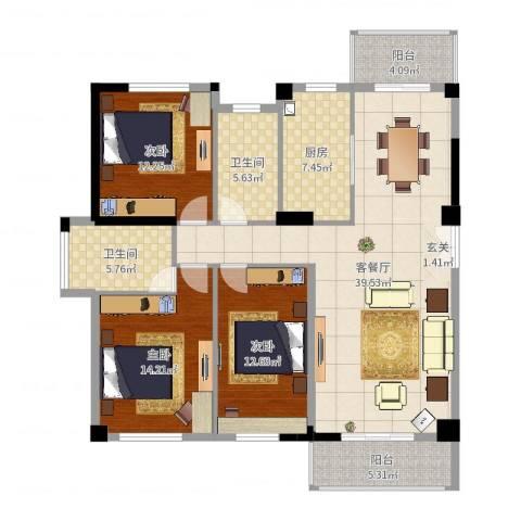 匹克奥林阳光3室2厅2卫1厨134.00㎡户型图