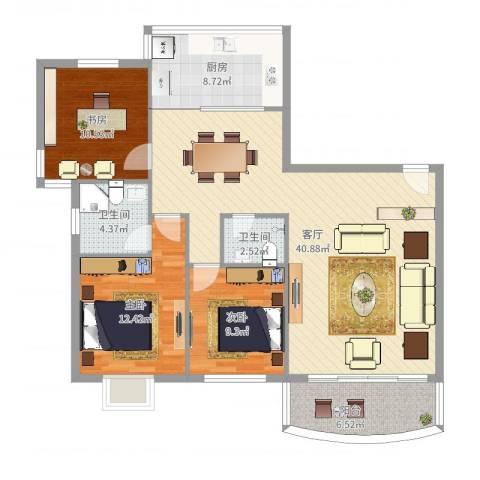 彩虹新钻3室1厅2卫1厨119.00㎡户型图