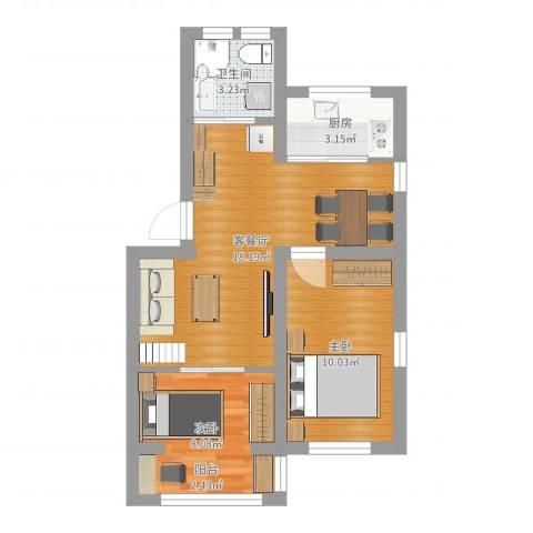 运光新村2室2厅1卫1厨53.00㎡户型图