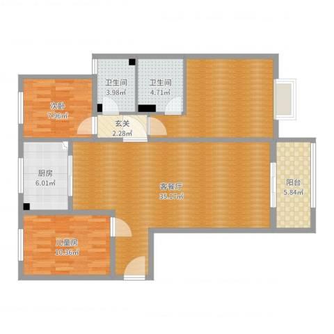 香格里拉2室2厅2卫1厨114.00㎡户型图
