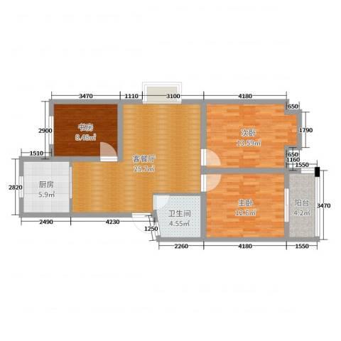 玉城明珠苑3室2厅1卫1厨94.00㎡户型图