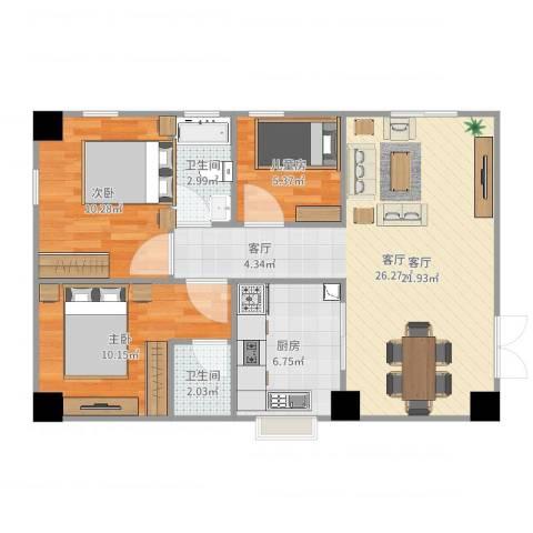 雅宝新城别墅3室1厅2卫1厨80.00㎡户型图
