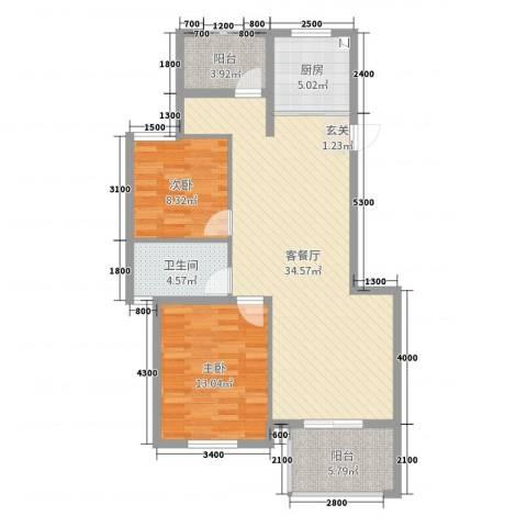 玲珑湾2室2厅1卫1厨90.00㎡户型图