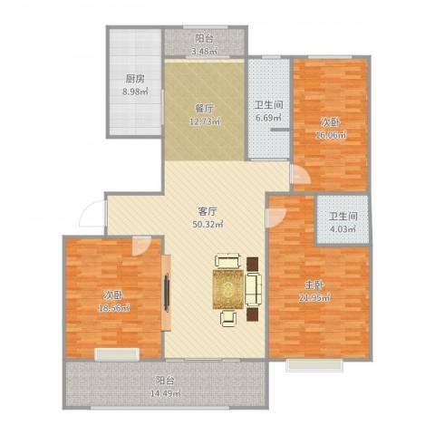 万泰秀水湾3室1厅2卫1厨181.00㎡户型图