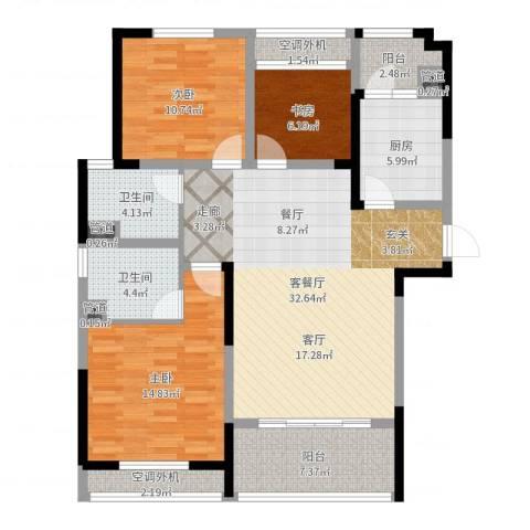 骋望七里楠花园3室2厅2卫1厨116.00㎡户型图