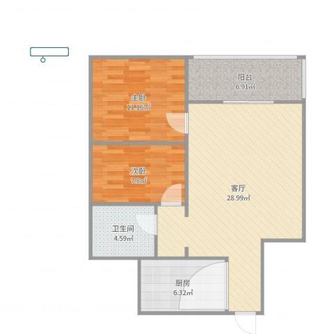 乐府江南2室1厅1卫1厨82.00㎡户型图