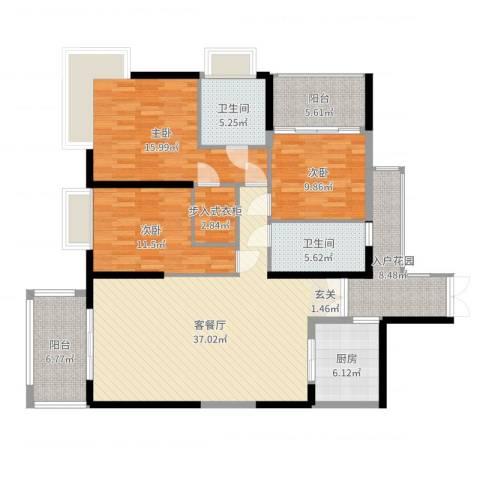天安・东湖花园3室2厅2卫1厨144.00㎡户型图