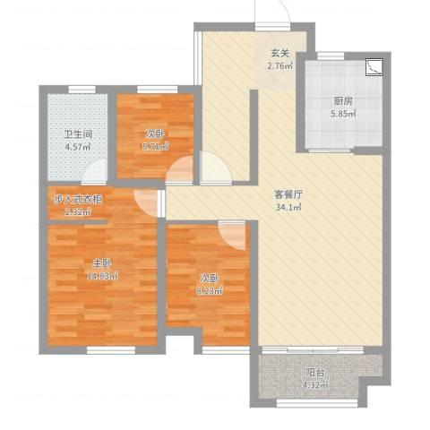 金域华府3室2厅1卫1厨77.62㎡户型图