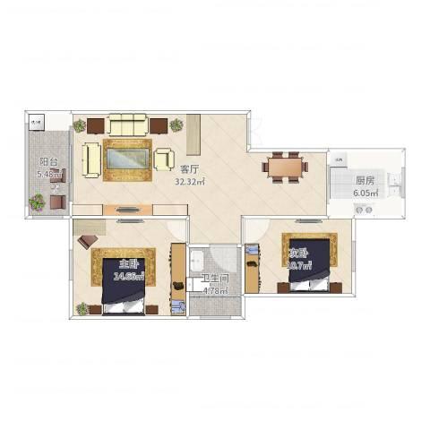 蒋巷北苑2室1厅1卫1厨92.00㎡户型图
