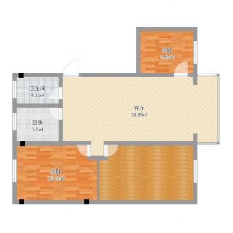 和谐家园2室1厅1卫1厨116.00㎡户型图