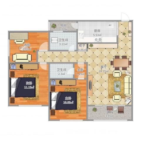 临江佳园4室1厅2卫1厨89.00㎡户型图
