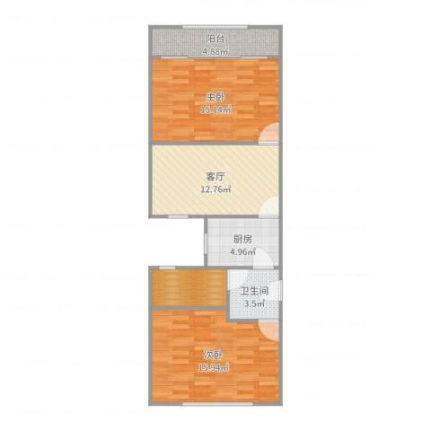 长海四村2室1厅1卫1厨76.00㎡户型图
