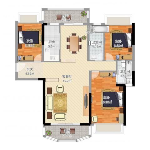 凯旋豪庭3室2厅2卫1厨132.00㎡户型图