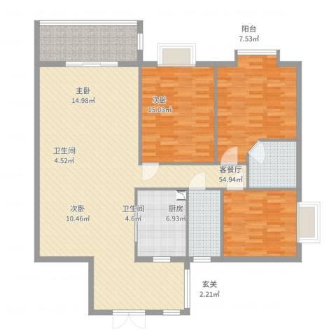 锦绣家园3室2厅2卫1厨149.00㎡户型图
