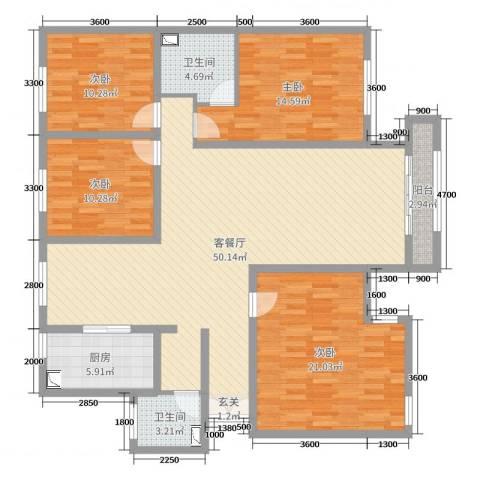 巨华世纪城二期和谐园4室2厅2卫1厨163.00㎡户型图