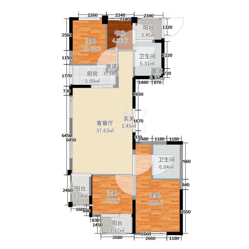 绿城玫瑰园136.44㎡3、9#A户型4室4厅2卫1厨