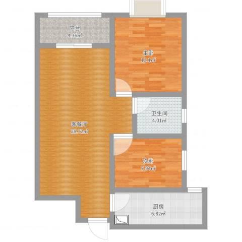 启迪书香逸居2室2厅1卫1厨80.00㎡户型图
