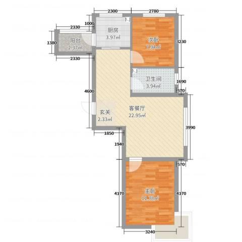 御龙湾2室2厅1卫1厨74.00㎡户型图
