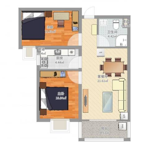 龙溪城2室2厅1卫1厨82.00㎡户型图