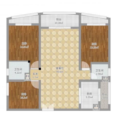 宝安滨海豪庭3室2厅2卫1厨131.00㎡户型图