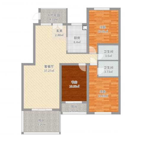 泰安盛世3室2厅2卫1厨131.00㎡户型图