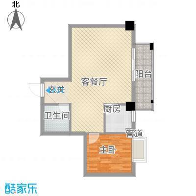 兴业城A户型2室1厅1卫1厨