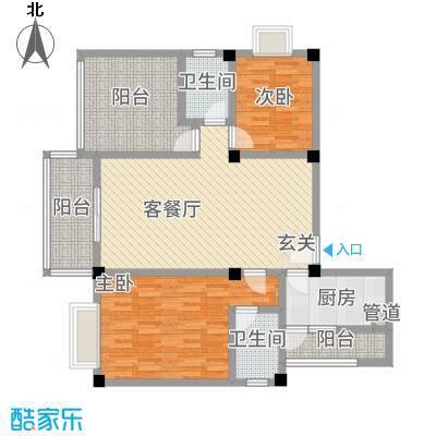 花园星河城16.62㎡单页-E1户型2室2厅2卫1厨