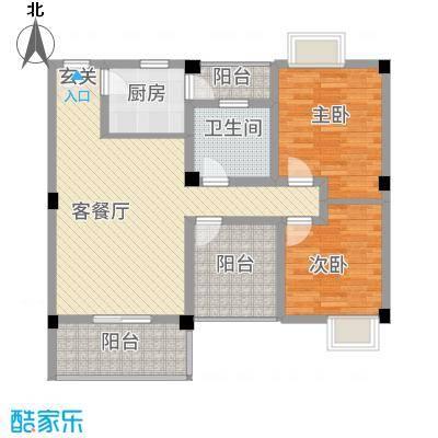 花园星河城1.14㎡单页-C1户型2室2厅1卫1厨