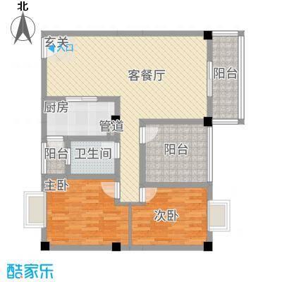 花园星河城8.17㎡单页-E4户型2室2厅1卫1厨