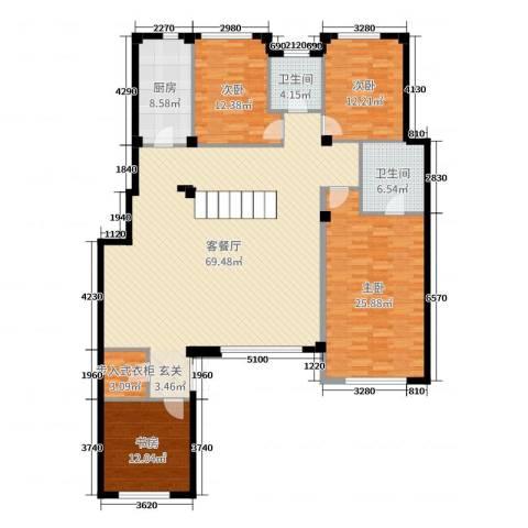 金石城4室2厅2卫1厨180.00㎡户型图