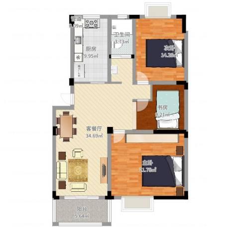 名邦西城秀里3室2厅1卫1厨124.00㎡户型图