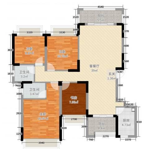 信德半岛4室2厅2卫1厨125.00㎡户型图