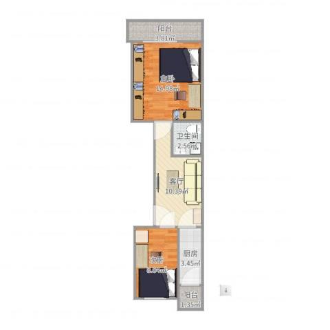 万泉庄红五楼2室1厅1卫1厨56.00㎡户型图