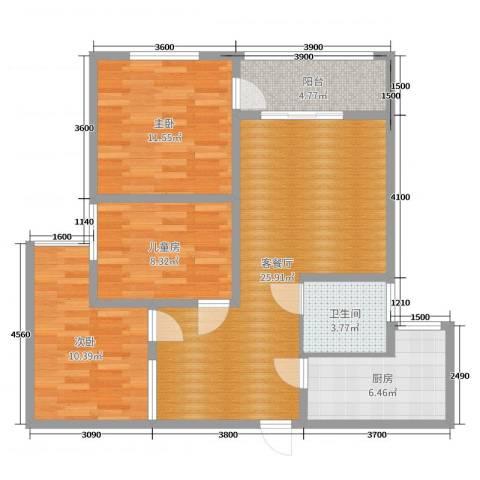 天泰茗仕豪庭E3室2厅1卫1厨89.00㎡户型图