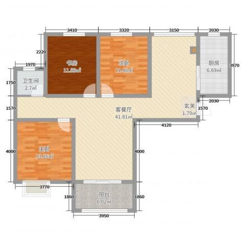金园金色家园3室2厅1卫1厨116.00㎡户型图